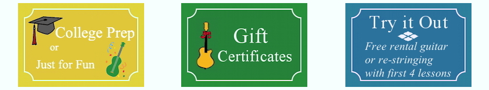 College Prep or Just for Fun, Gift Certificates, Try it Out: free guitar rental or re-stringing with first 4 lessons